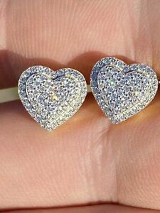 Real 925 Sterling Silver 14k Gold Finish Heart Shape Earrings Studs Iced Diamond