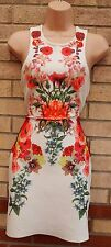 FOREVER 21 WHITE MULTI COLOUR FLORAL BANDAGE BODYCON TUBE PARTY PENCIL DRESS M