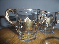 Pressed Glass Creamer/Sugar Bowl Set with Gold Trim Vintage Flowers missing lid