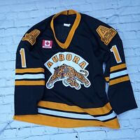 Vintage Mens Large Hockey Jersey Aurora Tigers #1 OJHL Canada 0