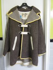 JC Castelbajac Parka Coat 100% Wool Embroidered OS L France --Superb!