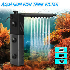 3/5/7W Fish Tank Water Oxygen Air Pump Filter Internal Aquarium Submersible