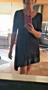Eileen Fisher Navy linen shibori silk long asymmetric tunic XS EUC