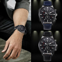 Luxury Mens Watches Stainless Steel Quartz Analog Leather Date Army Wrist Watch