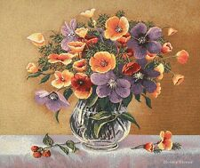 WALL JACQUARD WOVEN TAPESTRY Purple and Orange Flowers EUROPEAN FLORAL PICTURE