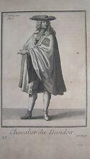 GRAVURE RELIGION ORDRE MONASTIQUE CHEVALIER DU DÉVIDOIR par DE POILLY en 1838