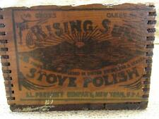Vintage Rising Sun Stove Polish Wooden Shipping Box >  Antique Boxes 8198