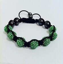 Shamballa Bracelet 7 Green Swarovsk Crystal Beads &6 Hematite Beads FREE FREIGHT