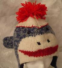 NWT deLux BLUE SOCK MONKEY HAT Knit ADULT cap toque FLEECE LINED leather tag NEW