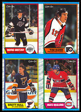 1989 O PEE CHEE opc Wayne Gretzky Brett Hull NM BOX BOTTOM 4 CARD UNCUT PANEL