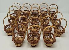 Lot of 23 Small Square Shaped Wicker Rattan Easter Baskets w/ Handle for Crafts