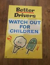 More details for vintage school classroom poster road safety 1960s/70s original rare