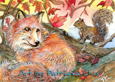 "ACEO Fine Art Print "" Join Me For A Nap "" Wildlife Animal Fox Art by Patricia"