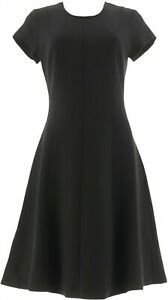 H Halston VIP Ponte Knit Cap Slv Fit Flare Dress Black 8 # A287137