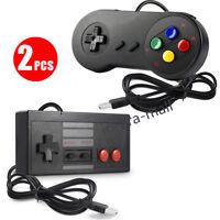 2pcs Retro SNES & NES Classic Wired USB Controller Gamepad for Windows PC MAC US