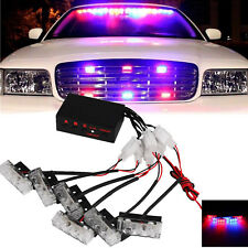 Auto Car LED Red/Blue Police Strobe Flash Light Dash Emergency Warning Lamp Kit