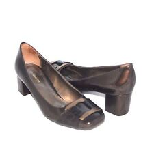 New Display Authentic Liz Claiborne Block Heel Pumps Metallic Brown Size