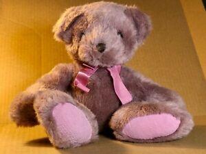 """RUSS BERRIE BEAR HUGS LAVENDER PLUSH BEAR 12"""" GENTLY USED VINTAGE"""