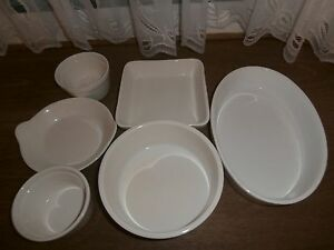 Set of 6 Cream Ceramic Oven to Table Dishes in a Box.