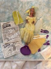 Vintage 1981 Magic Curl Barbie Doll W/ Dress, Shoes, Ring Towel Accessories