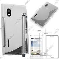 Housse Etui Coque Silicone Transparent LG Optimus L5 E610 + Stylet + 3 Films