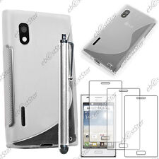 Housse Etui Coque Silicone Transparent LG Optimus L5 E610 + Stylet + 3 Films