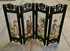 Chinese Vintage Glass Mini Folding 4 Screen Dividers Desktop Decoration