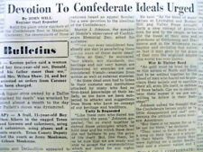 1953 newspaper w detailed essay on CONFEDERATE IDEALS to be HONORED by the SOUTH