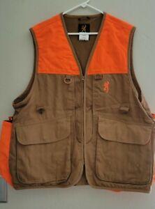 Browning Mens Bird Hunting Shooting Vest Sz L 73765 Brown And Orange
