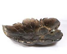 Dark Rock Crystal Serveware Centrepiece Carved Leaf Bowl