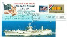 USS BLUE RIDGE LCC-19 Amphibious Command Ship at Sea Color Cachet First Day PM