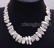 SALE Big White 12-15mm Natural freshwater Biwa Pearl 17'' Necklace -nec6142