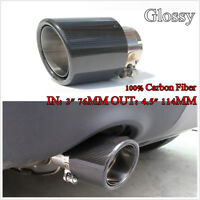 "Curled Inlet 3"" 76mm Outlet 4.5"" 114mm Carbon Fiber Glossy Exhaust Tips Muffler"