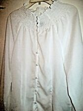 MILANO ESSENTIALS DELICATELY BUTTONED WHITE BLOUSE size S Ruched Neckline  Cuffs