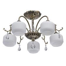 Plafonnier lustre à 5 bras classique antique en métal couleur bronze et cristal