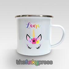Personalised Unicorn Enamel Mug Tea Coffee Gift Birthday Rainbow Add Your Name