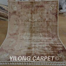 YILONG 5.5'x8' Persian Handmade Silk Rug Abstract Family Room Indoor Carpet 1556