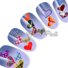 Nail Art Water Transfers Decals Hearts Valentine Pattern Tartan Love Stripe K051