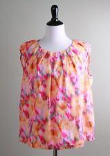 BOSS HUGO BOSS $275 Vibrant Ikat Print Pleated Keyhole Blouse Top Size 12