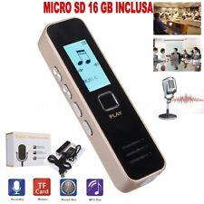 REGISTRATORE VOCALE AUDIO DIGITALE SCHERMO LCD MP3 RECORDER + SD 16 GB INCLUSA