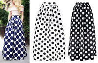 Polka Dot Maxi Ball Gown Floor Length Skirt Pleated Satin Taffeta Monochrome