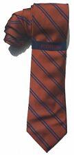 "NEW Mens Silk Tie Necktie Orange Blue Stripe Rooster Slim Skinny 3 1/4"" A3537"