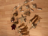VTG Pin Sequin Beaded Christmas Star Santa Angel Tree Topper Ornaments