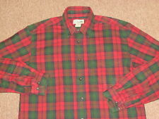 L.L. Bean Mens Red Green & Black Plaid Flannel Button Down Front Shirt S small