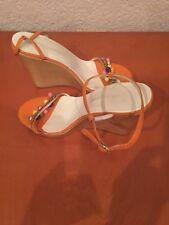 Dolce & Gabbana  8.5 Orange Patent Leather Wood Platform Wedge Sandals $612