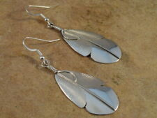 Sterling Silver Feather Earrings by Chester Charley Navajo