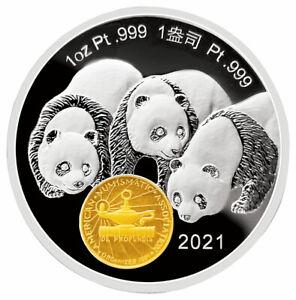 2021 China 1oz Platinum Chicago ANA World's Fair of Money Show Panda Medal Proof