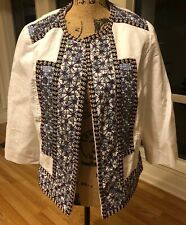CHICO'S Women's Jacket Red White Blue Pink Boho Print Beaded Sequin Lined Size 1