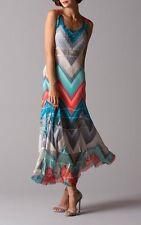 KOMAROV NWT Sleeveless Maxi DRESS Slimming Design Zigzag Sunset Blue M as S $323