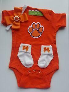 Clemson newborn/baby clothes girl Clemson baby gift girl tigers baby girl